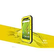 Love Mei MOTO X Play Case , Shockproof Waterproof Dust / Dirt / Snow Proof Aluminum Metal Case Gorilla Glass Heavy Duty Protection Case Cover for Motorola MOTO X Play ( Yellow )