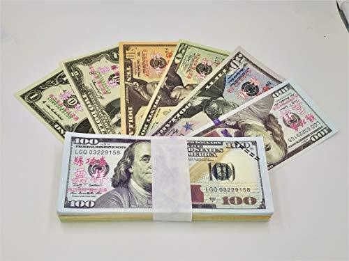 WLIFE Movie Prop Money Full Print 2 Sided 140PCS Set of:$1,$2, $5, $10, $20, $50, $100 Dollar Bills, Motion Picture Money 100 Dollar Bills Realistic Money Stacks,Copy Money Play Money That Looks Real