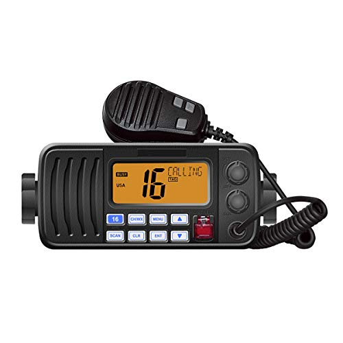 HYS 25 Watt Fixed Mount Marine VHF Radio, Waterproof IPX7 with Triple Watch, Dsc, Emergency/NOAA Weather Alert, All USA/International/Canadian Marine Channels.Vibration Draining Function