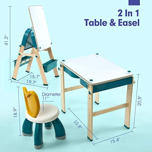 CubicFun 2in1 Kids Table & Easel, Toddler Kids Activity Table And Chair Set With 83PCS Marble Run Brick Set & 1 Chair, Kids Art Easel For Kids Table And Chairs For Kids Toddler Kids Desk And Chair Set