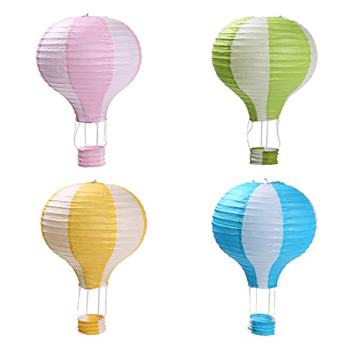 Zilue Party Hanging 12 inches Rainbow Hot Air Balloon Paper Lanterns Christmas Accessories Birthday Party Wedding Decoration Stripe Set -