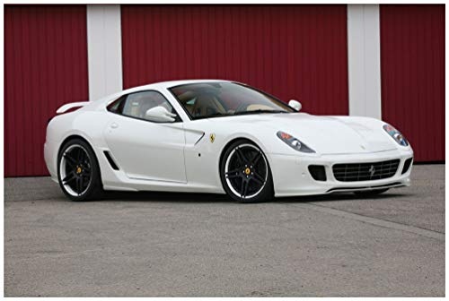 Ferrari 599 GTB Fiorano by Novitec Rosso (2006-2012) Car Art Poster Print on 10 Mil Archival Satin Paper White Front Side Static View (11