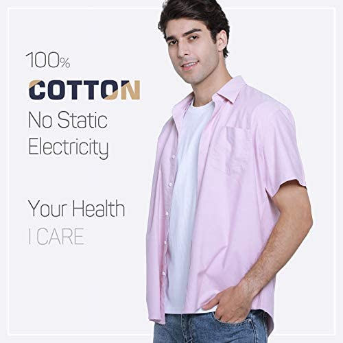 """41seqTIomFL. AC JCFL 100% Cotton Button Down Short Sleeve Oxford Shirt,Business Casual Dress Shirt for Men Relaxed Fit    JCFL continuously focuses on development of trendy cloth embracing the preferences as: """"Easy Look"""" Style, """"Washing Resistance"""" Quality, """"Comfy"""" Customer Experience and """"Relatively Lower"""" Cost Men's Oxford Shirt Material: 100% Cotton ¡ñ Machine Wash Low/ Hand Wash ¡ñ Tumble Dry Low Please refer to the following US SIZE CHART before purchasing S: Half Chest 22.6""""-----Shoulder 18.1""""---Length 30.3""""---Sleeve 8.66"""" M: Half Chest 23.6"""" -----Shoulder 18.7""""---Length 30.7""""---Sleeve 9.06"""" L: Half Chest 24.6""""-----Shoulder 19.3""""---Length 31.1""""---Sleeve 9.45"""" XL: Half Chest 25.6""""-----Shoulder 19.9""""---Length 31.5""""---Sleeve 9.84"""" XXL: Half Chest 26.6""""-----Shoulder 20.5""""---Length 31.9""""---Sleeve 10.24"""" Due to the manual measurements,SIZE DEVIATIONS VARY BETWEEN 0.5-1.5 INCH The color could be slightly different between on the screen and in practice. Thanks for your understanding!"""