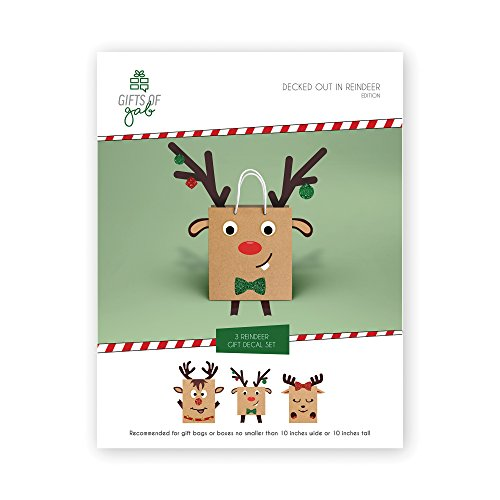 Reindeer Gift Bag Decoration, Christmas Gift Wrap Embellishment Craft Kit, Design and Decorate 3 Reindeer Christmas-Themed Gift Bags for Kids - Gift of Gab by Gifts of Gab