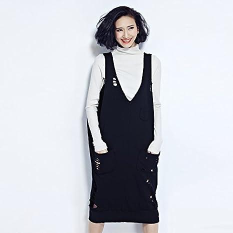 Primavera punto blusas y vestidos en la versión coreana de más mujeres de tamaño llevar petos de falda Chaleco suéter sin mangas sueltas,Código de tamaño,Negro: Amazon.es: Deportes y aire libre