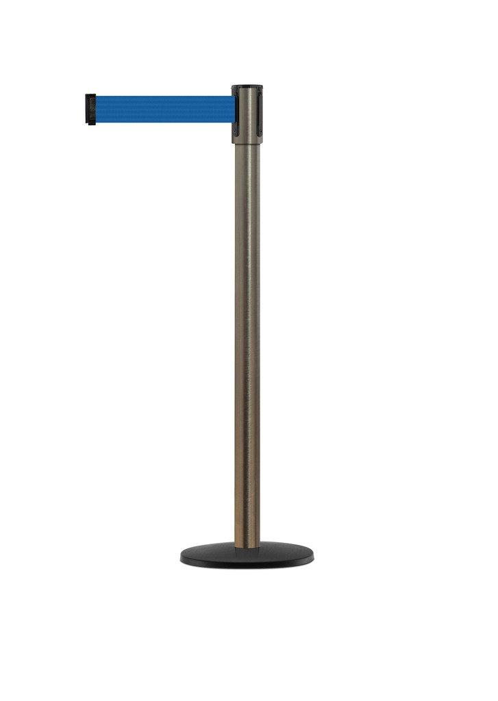 Tensabarrier - 890B-33-3S-3S-STD-NO-L5X-C - satin stainless post, 2'' wide, 7'6'' length Blue belt