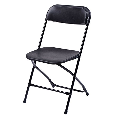 Best Choice Products (5) Commercial Black Plastic Folding Chairs Stackable Wedding Party Event Chair (Black)
