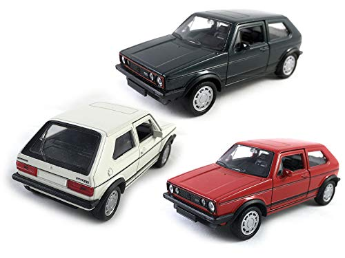 HCK Set of 3 1976 VW Volkswagen Golf GTI MK1 (Rabbit) Pull Back Toy Cars 1:36 Scale (Green/Red/White)