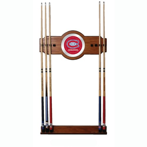 NHL Montreal Canadians two-piece Wood and Mirror Wall Cue Rack