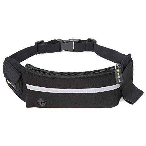 Waist Bag, Evecase Outdoor Running Fitness Sweatproof Belt Waist Pack Bag for Jogging, Exercise, Hiking, fits with iPhone 6S, SE, 6s Plus, Samsung Galaxy Smartphone and More - Black