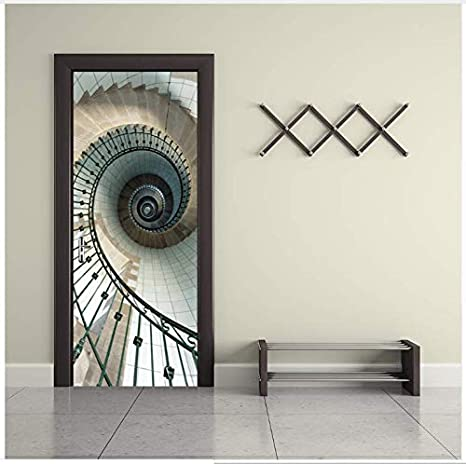Creativo Escalera en Espiral Puerta Pegatinas Wallpaper 3D Lift Wall Etiqueta Mágica DIY Mural Dormitorio Vinilo Poster Home Decor 77 * 200 CM: Amazon.es: Hogar