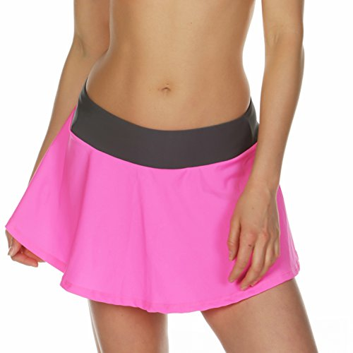 KKompany gonna estiva da spiaggia in lycra, circolare e svasata, per costume da bagno bikini copricostume pareo sarong Pink & Grey