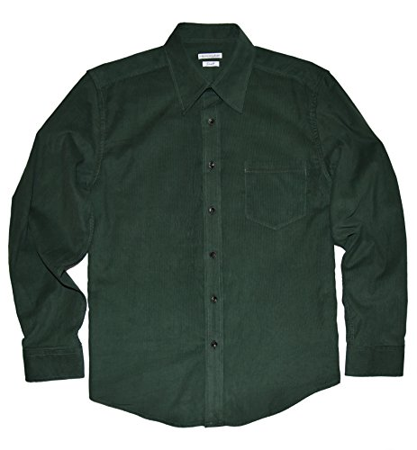 (Himosyber Men's Button Down Corduroy Shirt (Forest Green, XX-Large) )