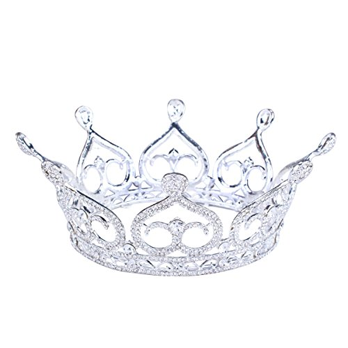FUMUD Women's Rhinestone Full Queen's Crown for Theather Prom Party - Clear Crystals Silver Plating Heart Shape -