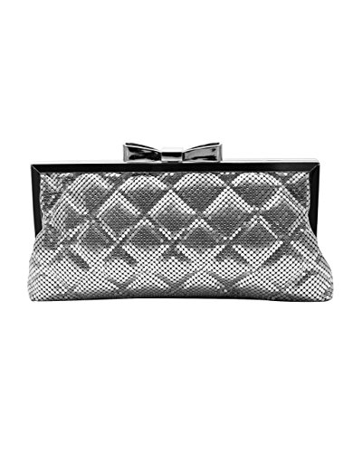 (La Regale Women's Quilted Chainmail Clutch Silver)