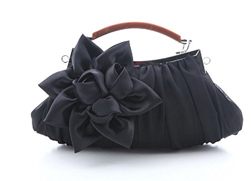 Silk Cocktail Evening Bag Purse Party Handbags Clutches Wedding Clutch Evening Purse Black by ANSAN