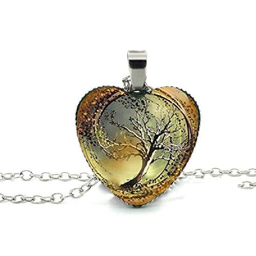 (Divergent Heart Necklace Divergent Tree Pendant Jewelry Women Heart Necklace Art Glass Necklace)