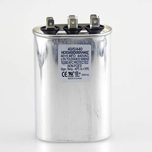 - 40+5 uf MFD 370/440 Volt Dual Run Oval Capacitor 40/5/440 Condenser Straight Cool/Heat Pump Air Conditioner