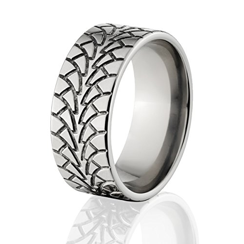 custom tire tread ring made in durable titanium mud tire rings usa made tire ring - Mud Tire Wedding Rings
