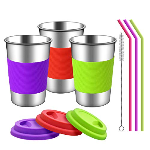 TOUGS Stainless Steel Cups with Silicone Lids, Sleeves and Straws | 3 Pack 16 oz. Drinking Tumblers Cups for Toddlers, Kids and Adults | Eco-Friendly | BPA-Free