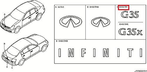 (Infiniti Genuine Miscellaneous Emblem & Name Label Trunk Lid Emblem 84890-AM800 G35 )