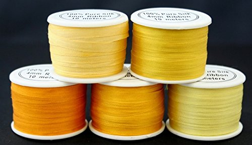5 Spools 100% Pure Embroidery Silk Ribbon 4mm x 55 yards Yellow Tones Embroidery Silk Ribbon Embroidery Supplies / Kits