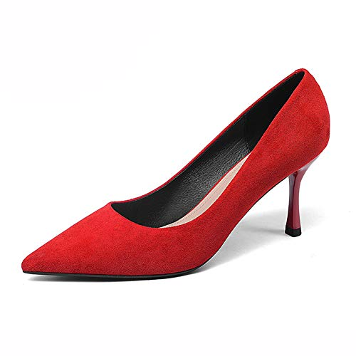 Cerimonia colore Sera Donna Per Scarpe Scollo Hwf Punta Red Tacco Dimensioni A 35 Feste Red Da xHfS8wqC