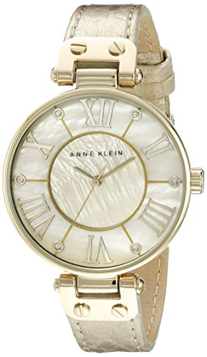 Anne Klein Women's AK/1012GMGD Leather Gold-Tone Snake Print Watch
