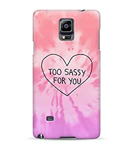 Pink Tie Dye Too Sassy For You Heart Hard Plastic Snap On Back Case Cover For Samsung Galaxy Note 4 Carcasa