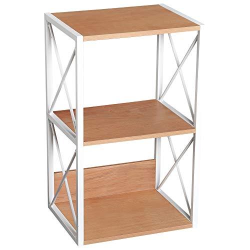 HOMCOM 3 Tier Freestanding Storage Shelf Utility Rack Wood Home Organizer Display Stand Living Room End Table - Light Beech/White (3 Side Tier Table)
