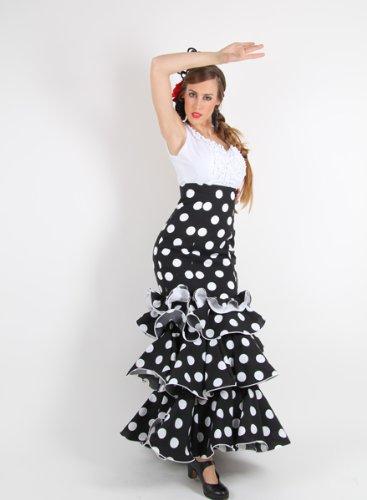 Falda Flamenca Azucena c/alta stretch (L, Negra con lunares ...