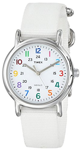 Timex Women's T2N837 Weekender White Nylon Slip-Thru Strap (Lady Military Watches)