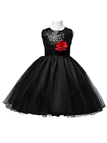 Graduation Gown Costume (Beauty-Emily Knee Length Ruffles Tulle Sequins Flowers Princess Sleeveless Girl Party Gown Costume Graduation Color Black, Size S4)