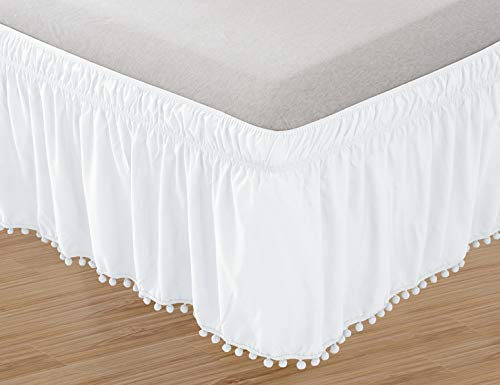 Elegant Comfort POM-POM-BedSkirt-Queen/King White Top-Knot Tassle Pompom Fringe Ruffle Skirt Around Style Elastic Bed Wrap-Wrinkle Resistant 16' Drop, Queen/King, White