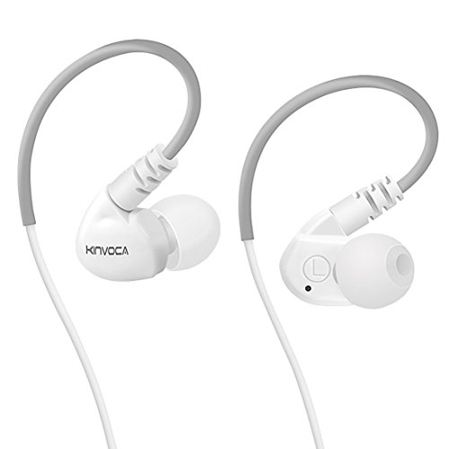 - KINVOCA Sweatproof Sports Workout Earphones for Running Gym Exercise Jogging Wired Earhook Headphones with Volume Remote and Microphone Bass Noise Isolating Over Ear in Ear Sport Earbuds (White)