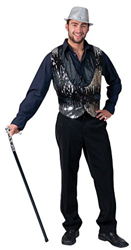 UHC Men's All That Jazz Silver Disco Glitter Theme Party Adult Halloween Costume, L (46-48)