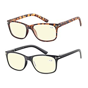 Computer Glasses Set of 2 Anti Glare Anti Reflection Stylish Comfortable Spring Hinge Frames for Men and Women +2.5