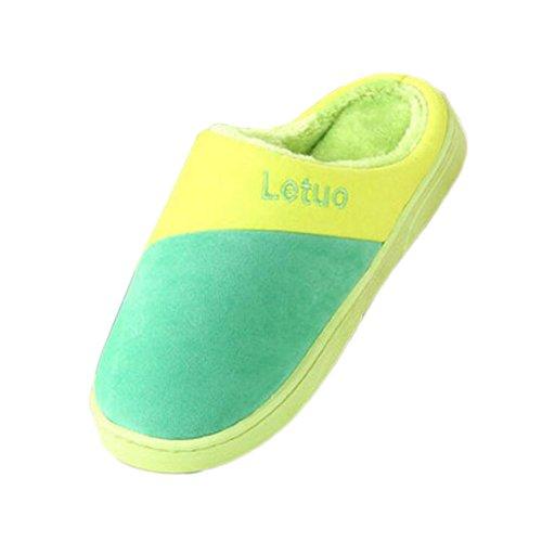 Piso Invierno verde Mujeres Inicio Zapatillas De Hombres Familia Interior Antideslizante Transpirable Algodón Calientes ZpXqIxC
