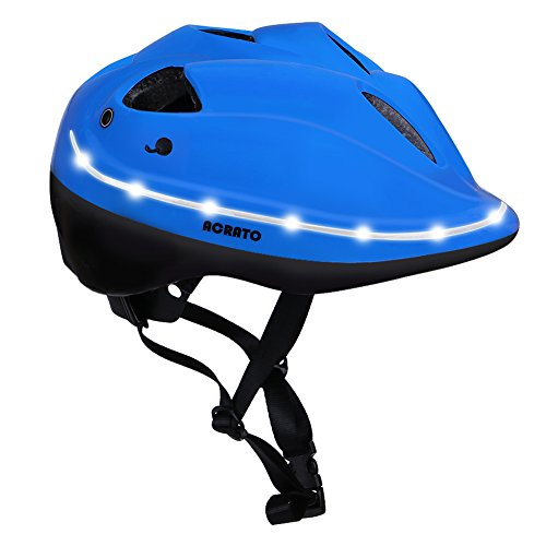 ACRATO Kids Bike Helmet Cycling Road Helmet with LED Safety Light Inner Padding Adjustable Belt for Head and Chin -  AISAITE, HEL-005-BL