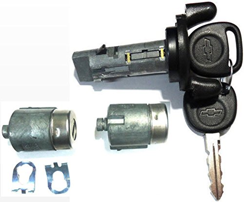 Chevy Ignition Switch Lock Cylinder + Pair (2) Door Lock Cylinder W/2 Logo Keys ()