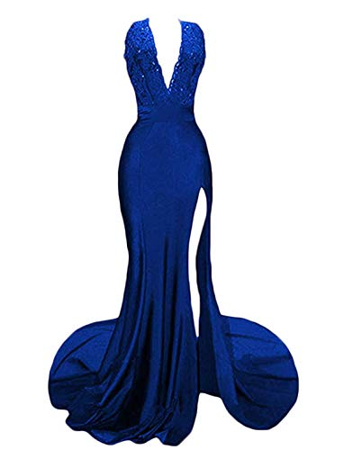 (TTYbridal V-Neck Sexy Prom Dress Mermaid Lace Evening Formal Dresses with Split P46 Royal Blue 16)