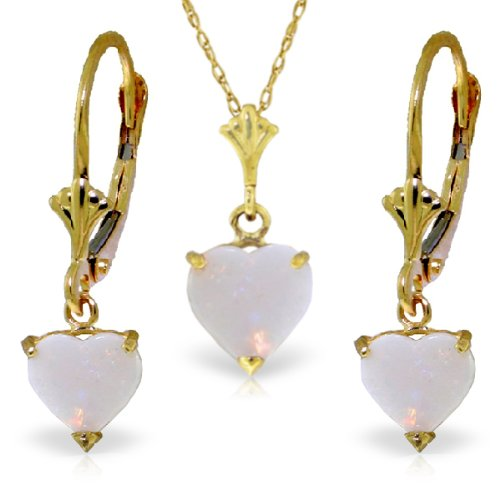 14K Yellow Gold Jewelry Set - Necklace and Earrings w/ Natural Heart-shaped Opals