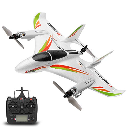 GoolRC WLtoys XK X450 RC Airplane, 2.4G Remote Control 6 Channel Brushless Motor Aircraft, Vertical Takeoff LED RC Glider Fixed Wing Plane RTF
