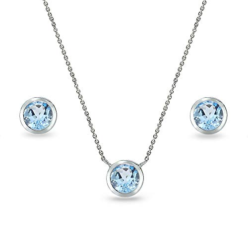 Sterling Silver Blue Topaz 5mm Round Bezel-Set Solitaire Small Dainty Choker Necklace and Stud Earrings Set for - Bezel Stud Solitaire