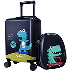 "18"" Kids Dinosaur Luggage, Hard Shell Travel Carry On Suitcase for Boys Children"