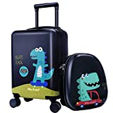 18' Kids Dinosaur Luggage, Hard Shell Travel Carry On Suitcase for Boys Children