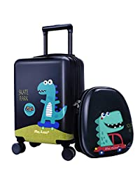 """18""""Kids Dinosaur Luggage, Hard Shell Travel Carry On Suitcase for Boys Children"""