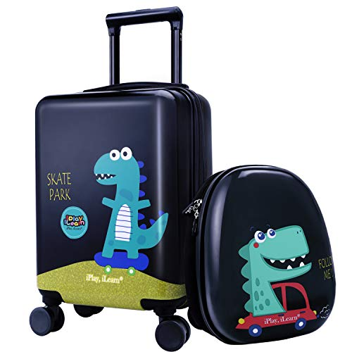 """Toddler Luggage (18"""" Kids Dinosaur Luggage, Hard Shell Travel Carry On Suitcase for Boys Children)"""