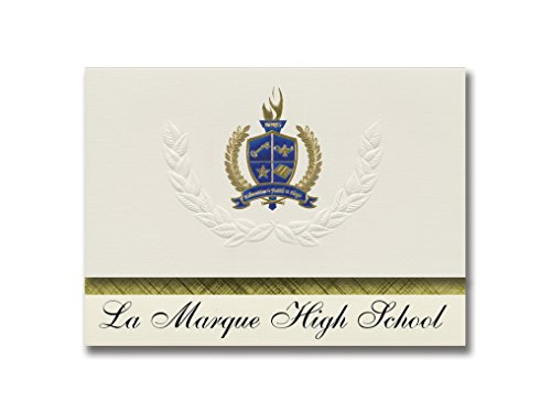 Signature Announcements La Marque High School (La Marque, TX) Graduation Announcements, Presidential style, Basic package of 25 with Gold & Blue Metallic Foil seal