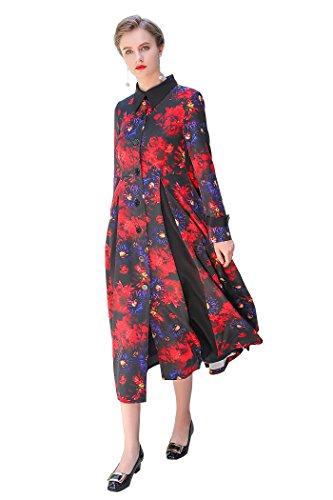 Coat Floral Silk (VOA Women's Red Floral Silk Long Coat S7307)